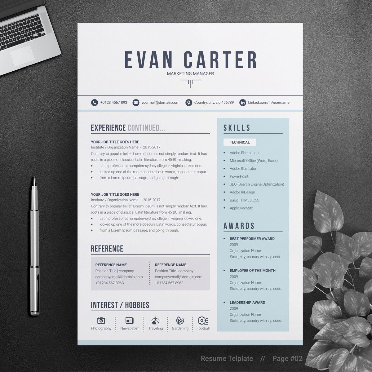 Evan resume template 74506 resume design resume