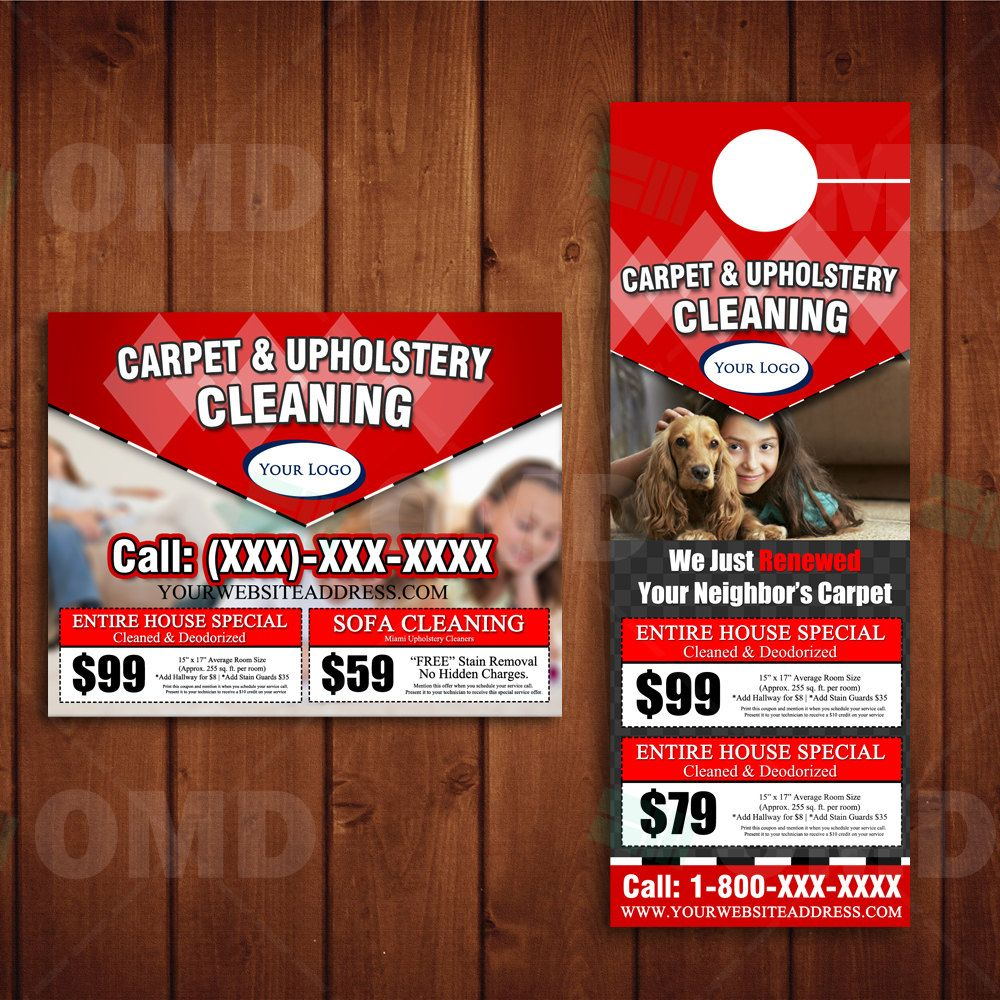 Custom Carpet Cleaning Door Hanger & Post Card Design - Done in ...