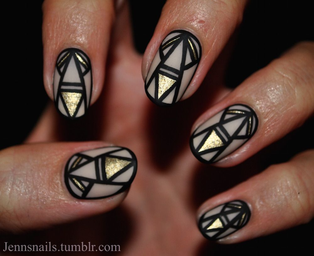 Decided to switch things up with short nails and ladyfancynails gold and black triangle nails nails nail nail art gold nails nail ideas nail designs prinsesfo Gallery