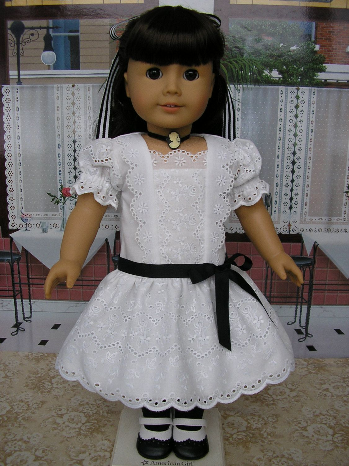 American girl early s eyelet dress shoes necklace and hairbow