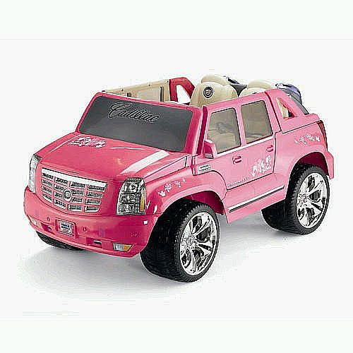 kids cars power wheels barbie cadillac hybrid escalade ext ride on pink power wheels toys