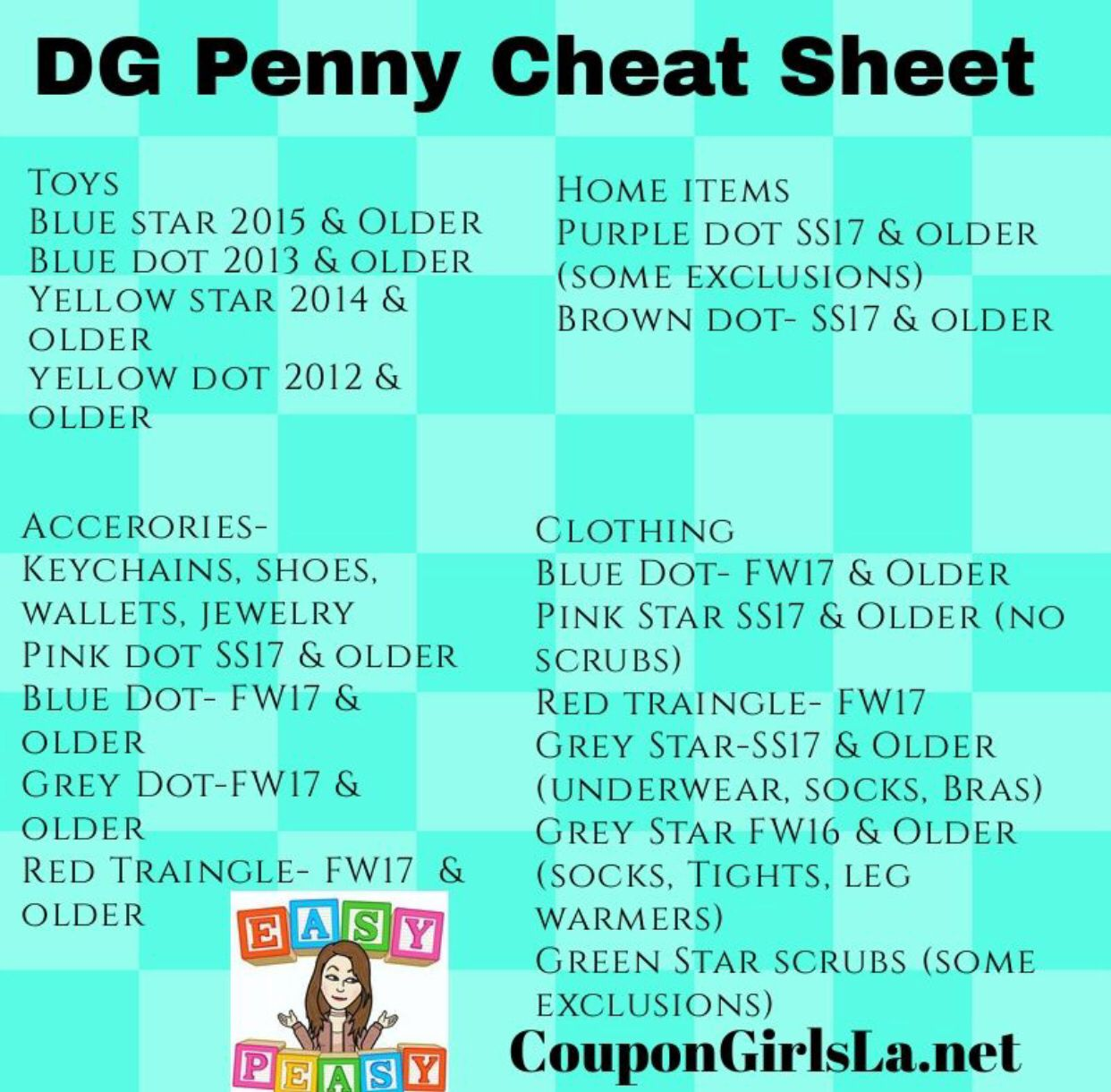 Dg Penny Cheat Sheet Dollar General Penny Items Dollar General Digital Coupons Couponing For Beginners