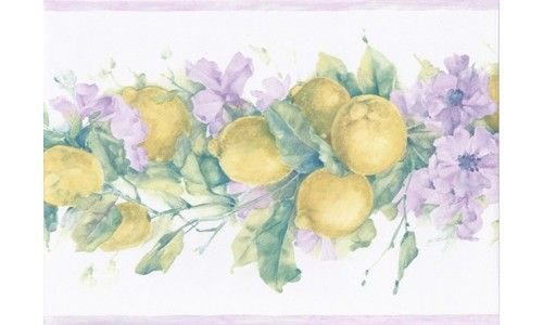 Purple White Primrose Lemons MK77670 Wallpaper Border