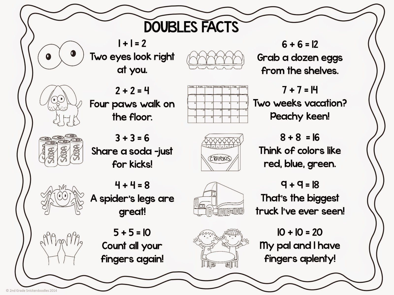 2nd Grade Snickerdoodles Doubles Facts Freebie Home School