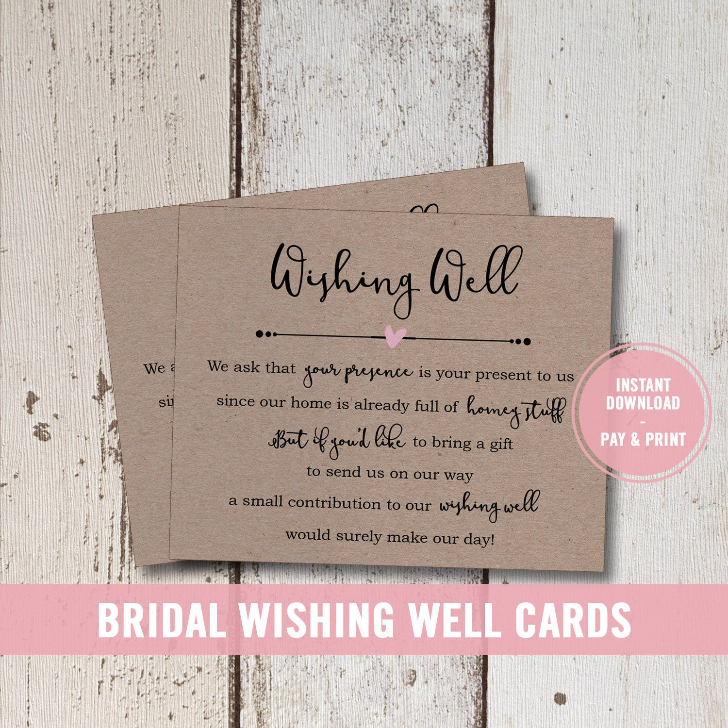 Wedding Wishing Well Card Printable, Bridal Shower Wishing