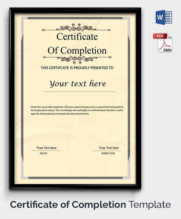 Completion Certificate Template Tutorials Pinterest - certificate of completion template word