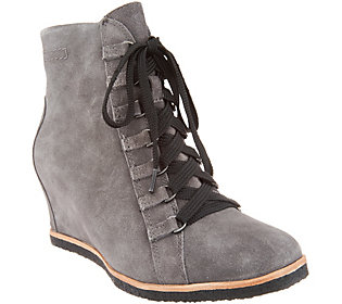 Earth Suede Lace-Up Wedge Ankle Boots