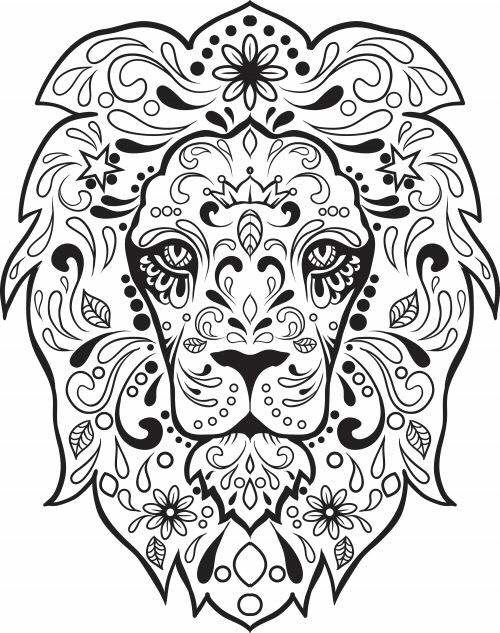 Lioooonn Skull Coloring Pages Free Adult Coloring Pages Animal