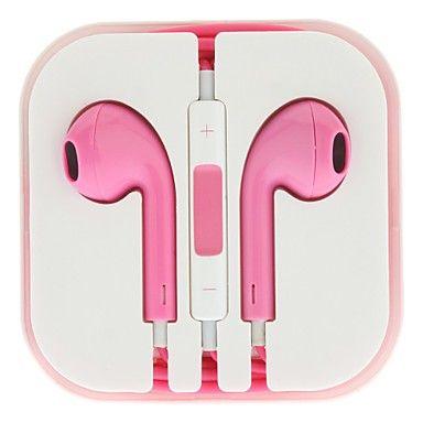 Pink 3 5mm Plug In Ear Earphone With Microphone Volume Control For Iphone Ipod Ipad Ipod Earphone Iphone