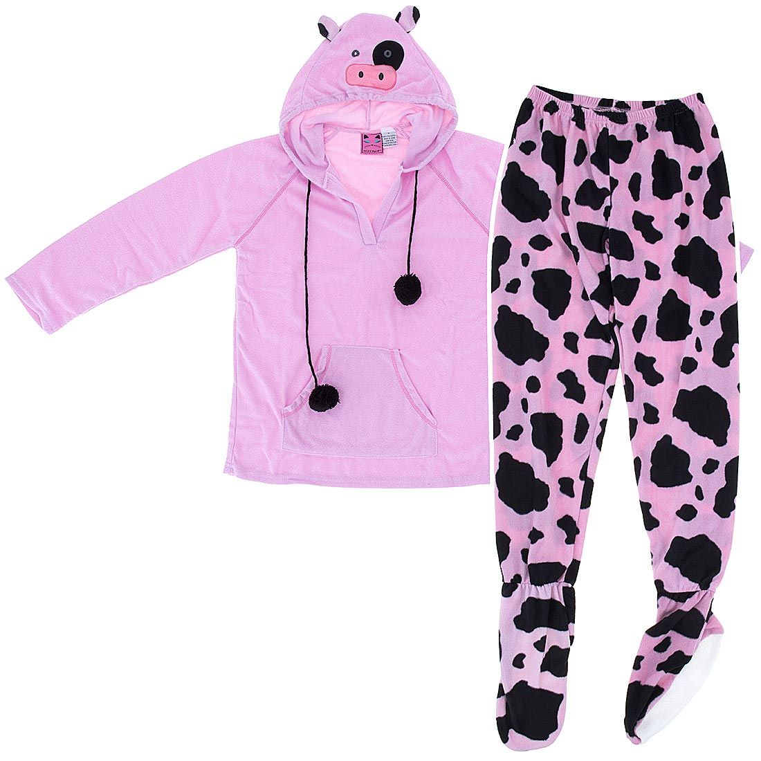 85d1562826b1 Cow Two-Piece Hooded Footed Pajamas for Women - Click to enlarge ...