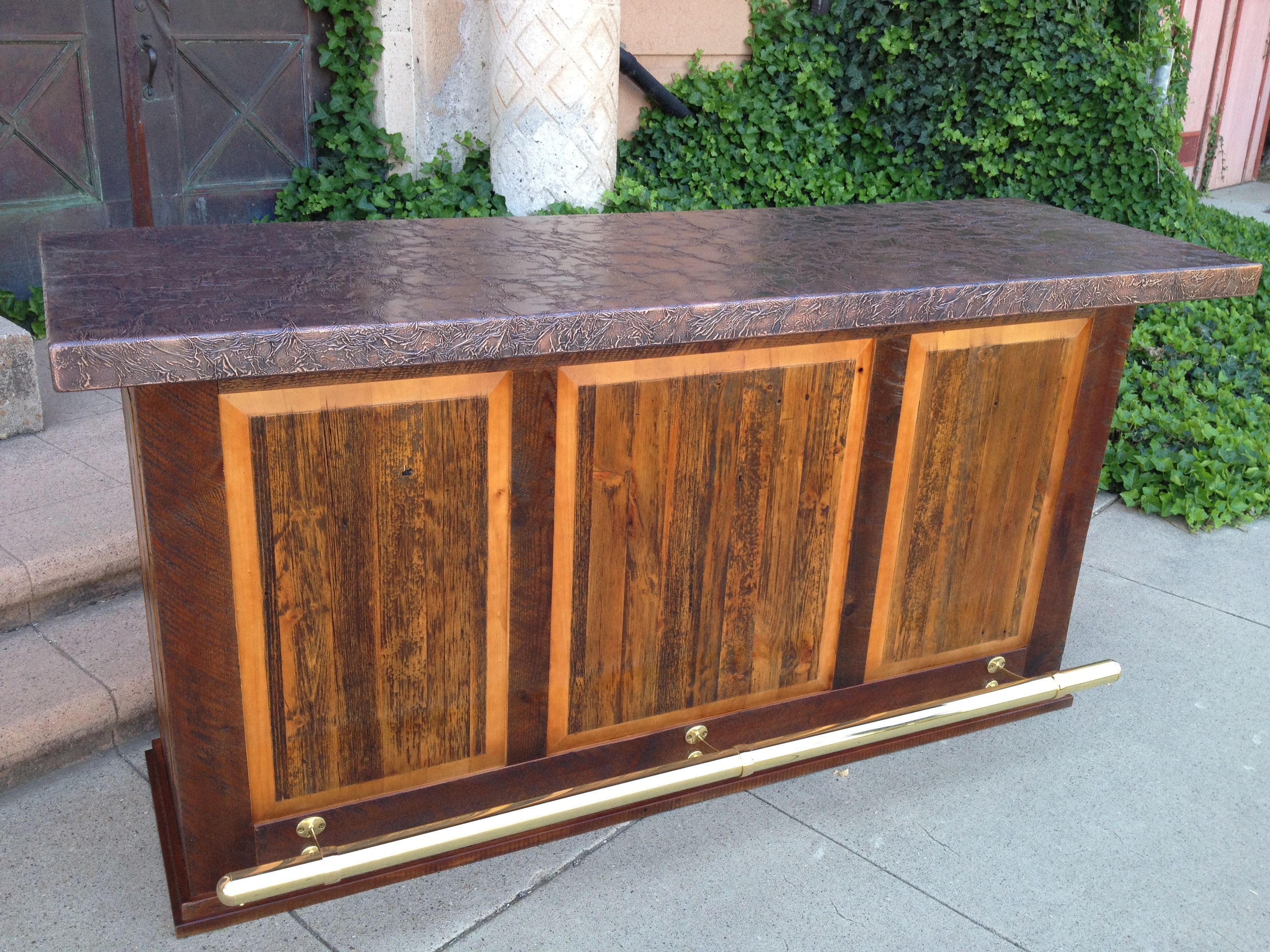 Heritage Bar Made From Reclaimed Barnwood, With Copper Top, Brass
