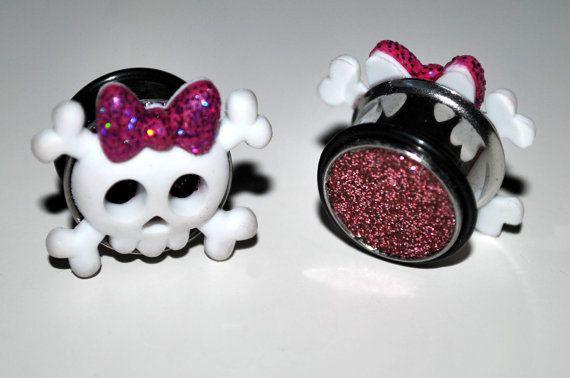 Girly Skull Plugs starting at 1420mm van LittleRedOnePlugs op Etsy, £15.00