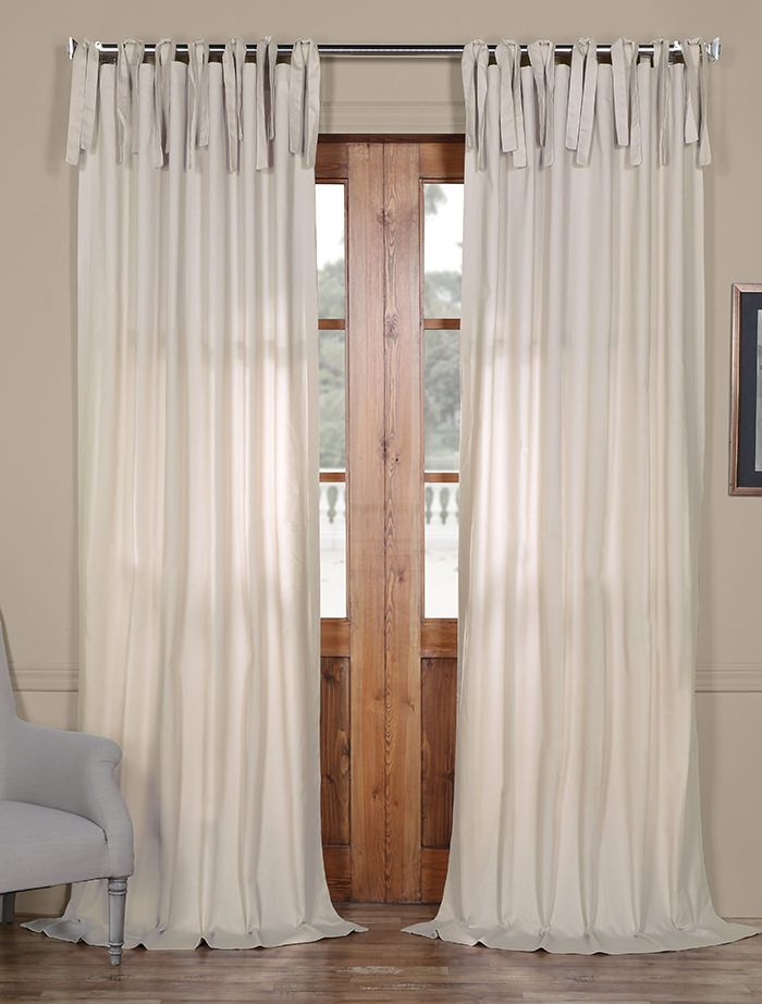 Hazelwood Beige Solid Cotton Tie Top Curtain Panel Curtains
