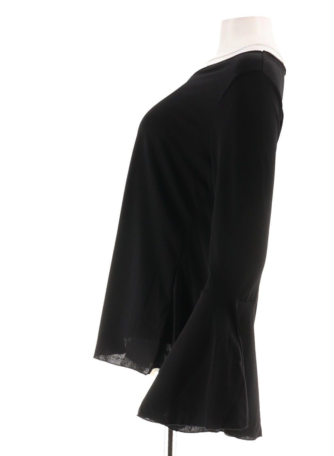 0e8bfb8c8fb79 IMAN Runway Chic Luxurious Bell-Sleeves Top V Neck Cuffs BLACK XL NEW  592-389  19.97