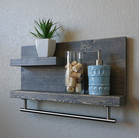Modern Rustic 2 Tier Bathroom Shelf with 18\