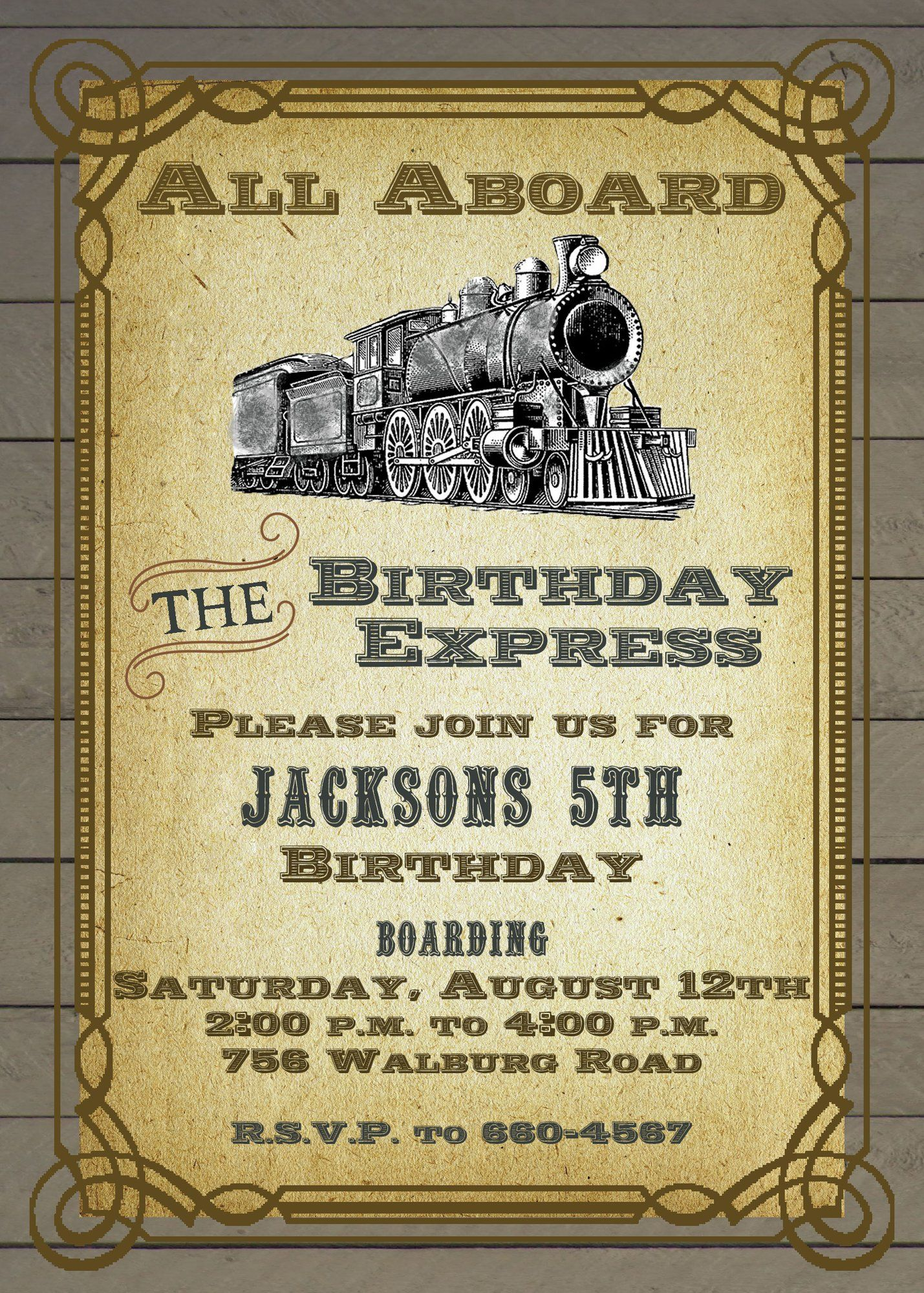vintage train birthday invitation birthday party invitations