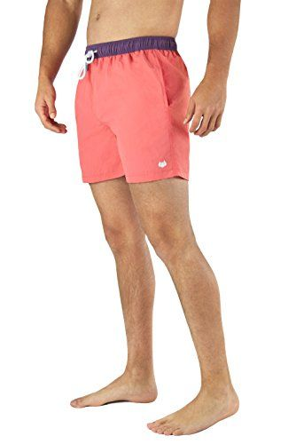 c671f31f5a Mens Swim Trunks LiquidWild Comfortable Quick Dry Above Knee Elastic Waist  Great for Swimming Vacation Gym Swim Shorts For Men Boys Teens Large Salmon  ...