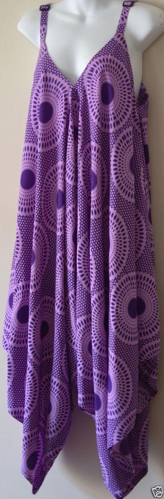 BOHO HIPPY CHIC SALE Purple Retro Hippie Print Jumpsuit Long Free Size 8-18 Blue