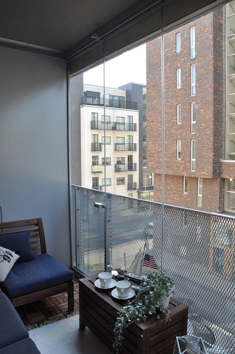 windschutz balkon glas transparent metall geflecht holz