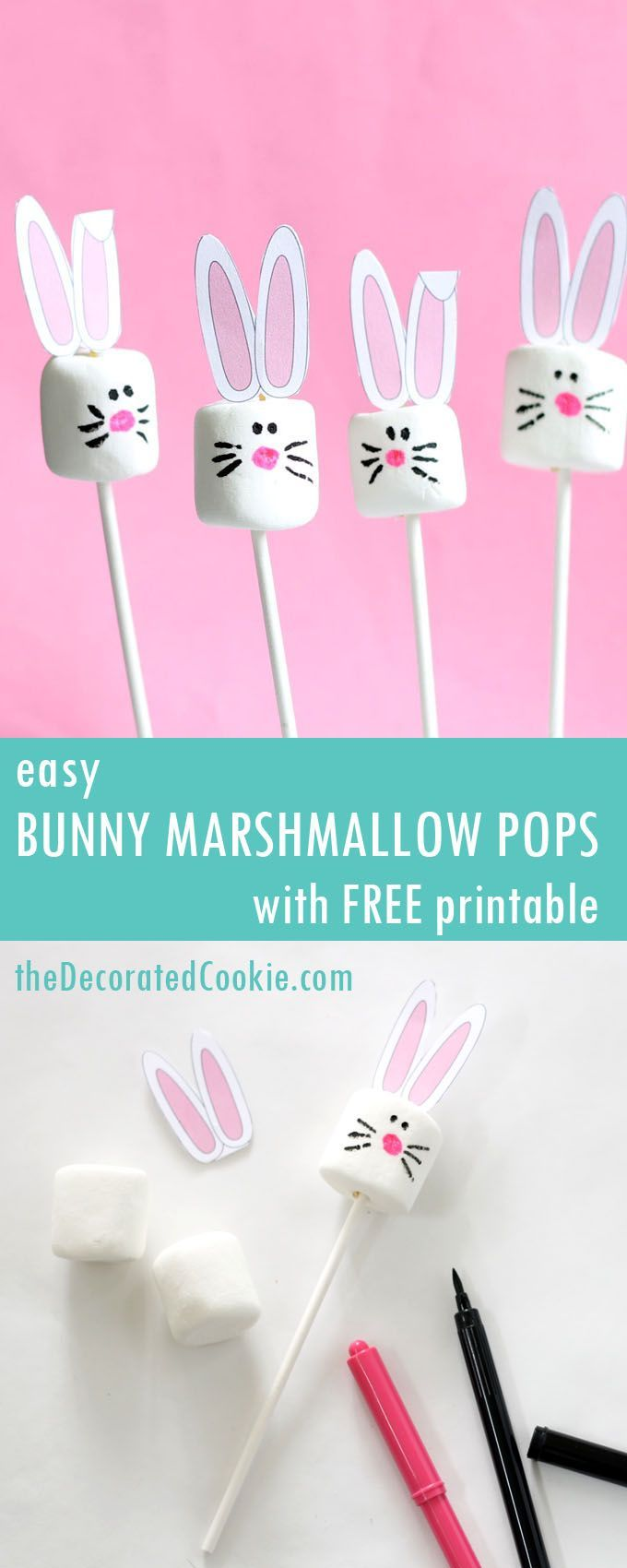 Easy Easter bunny marshmallows with free printable bunny ears. #marshmallows