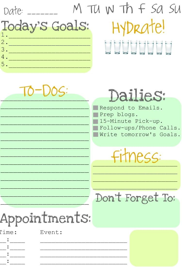 A daily planning page with water tracker! Free Printable!