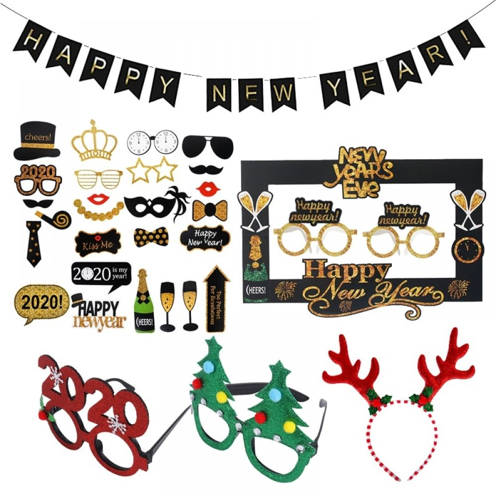 2020 Happy New Year Photo Booth Glasses Photo Props New