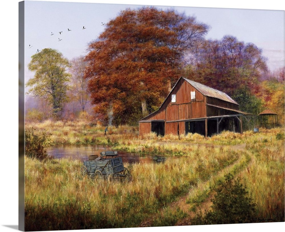 Red Barn Landscape Canvas Fine Art Landscape Landscape