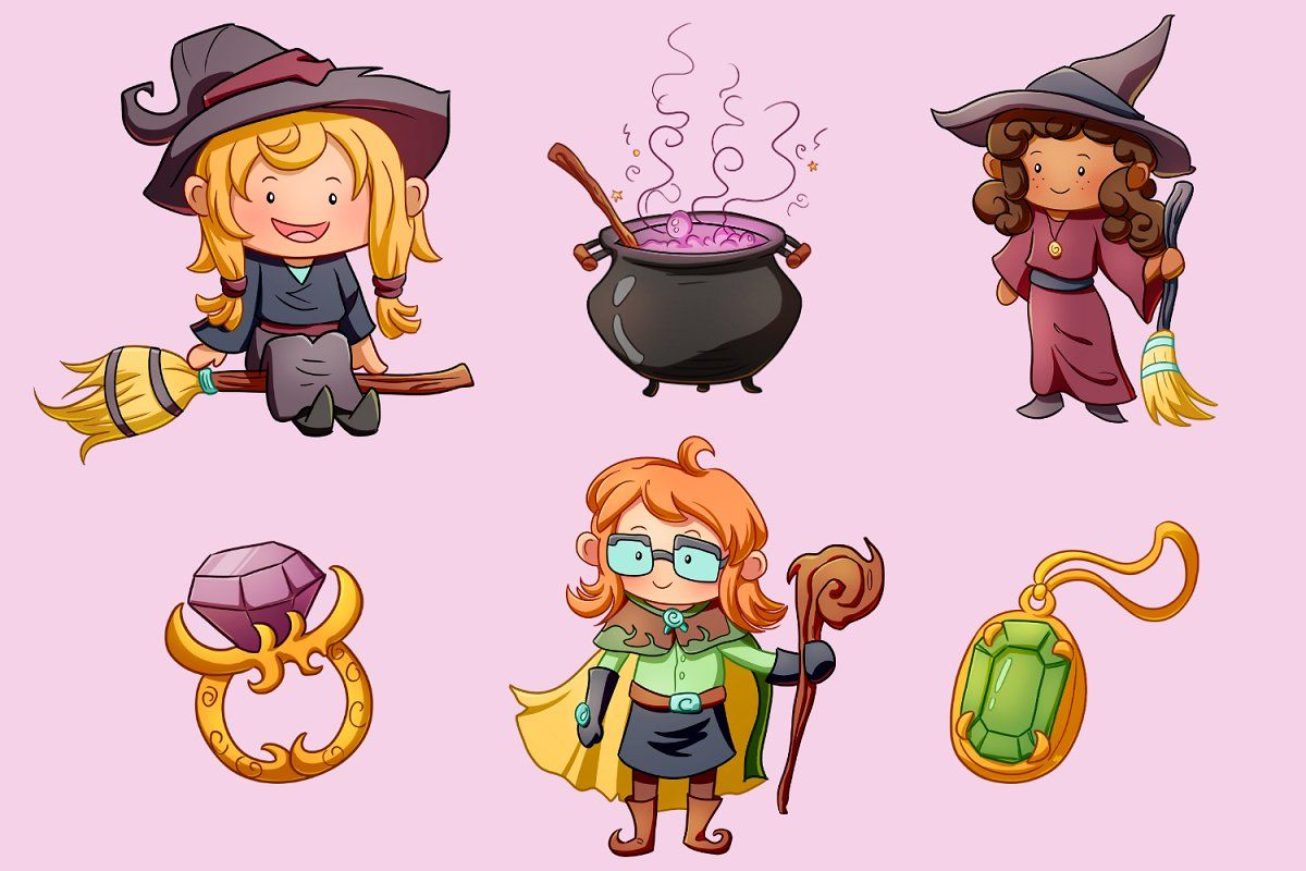 Playful Witches Clip Art Collection Art Clip Art Witch Fantasy