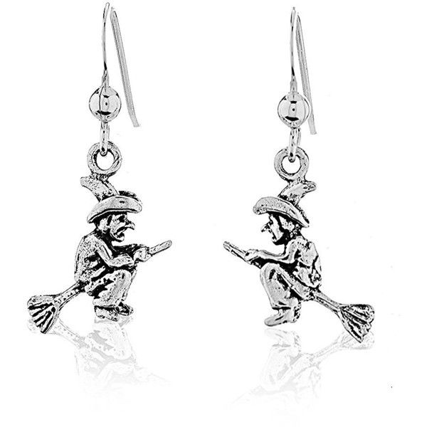 AmazonSmile: 925 Sterling Silver Wicked Witch on Broomstick Halloween... ($20) ❤ liked on Polyvore featuring jewelry, earrings, long earrings, sterling silver jewelry, dangle earrings, sterling silver dangle earrings and sterling silver long earrings