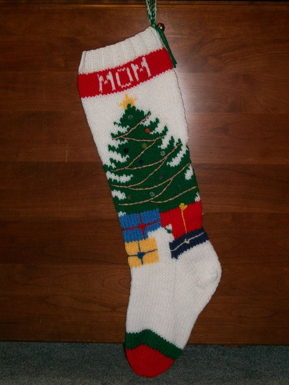 PRINTED Pattern Only Hand Knitted Christmas Tree Stocking ...