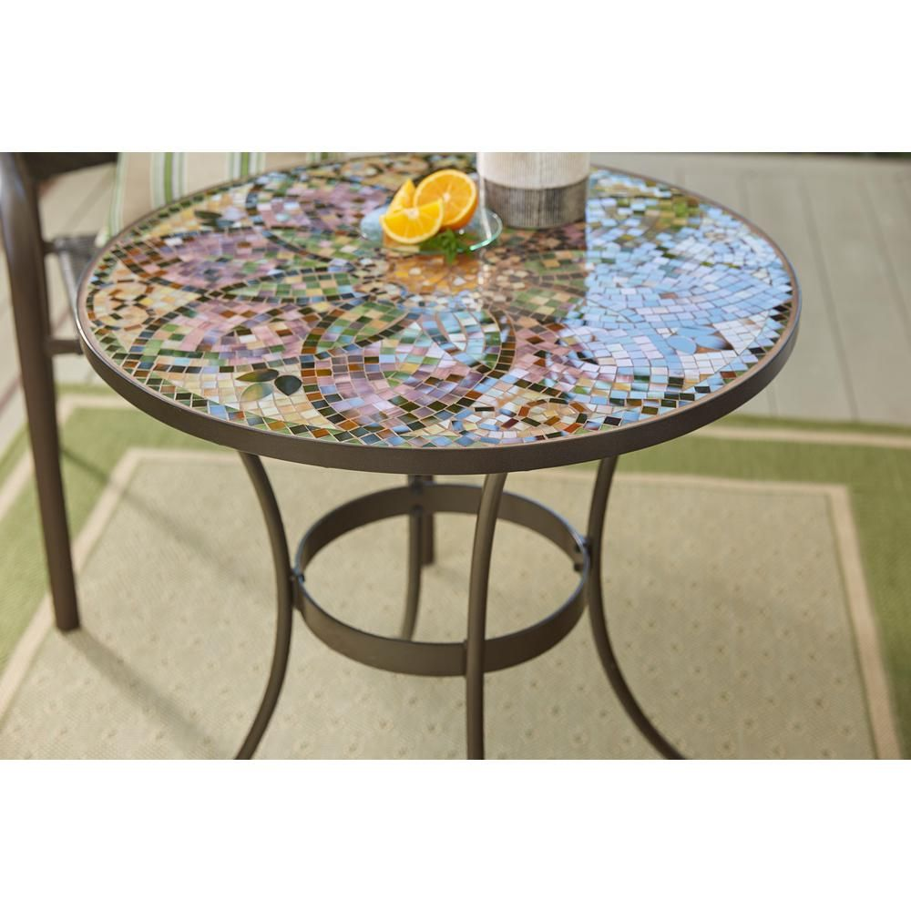 Hampton Bay Glass Mosaic Art 28 In Outdoor Bistro Table Hd17121e The Home Depot In 2020 Mosaic Outdoor Table Bistro Table Outdoor Bistro Table