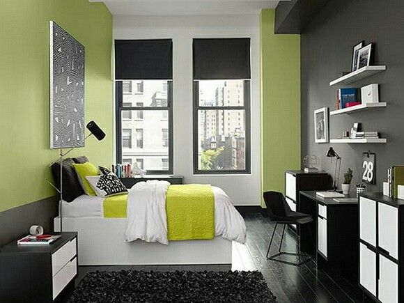 Bedroom in theme gray and lemon green color,look very nice ...