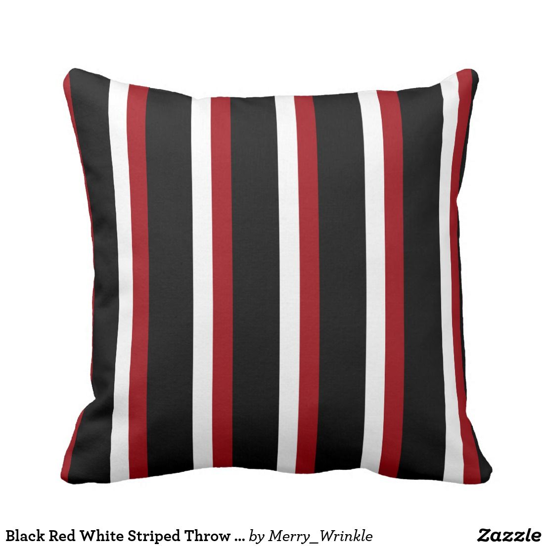 Black Red White Striped Throw Pillow Zazzle Com Stripe Throw Pillow Throw Pillows Striped Throw