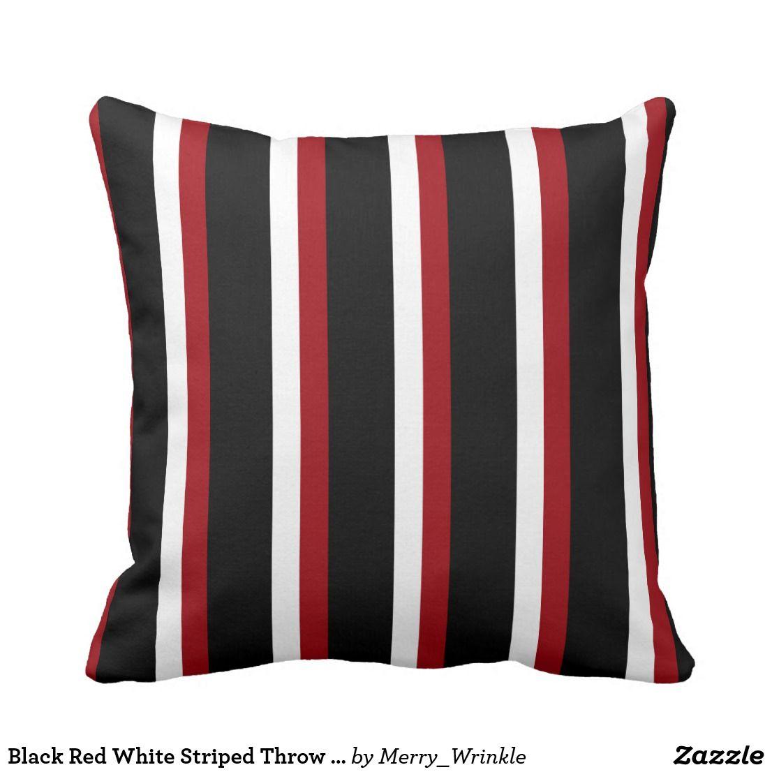 Black Red White Striped Throw Pillow Zazzle Com Stripe Throw Pillow Throw Pillows Striped Throw