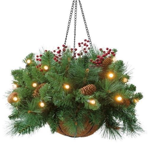 Beautiful Christmas Hanging Baskets With Lights With Image Bestchristma Christmas Hanging Baskets Fun Christmas Decorations Pine Cone Christmas Decorations