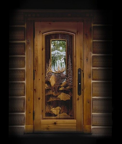 Mountain Elk Doorcedar Pine Door Jamb With Fully Carved