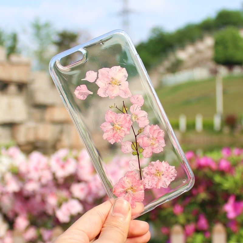 Pretty Real Pressed Floral Cherry Blossom Iphone 6 7 Phone Case Casing Iphone Tempat Ponsel Iphone