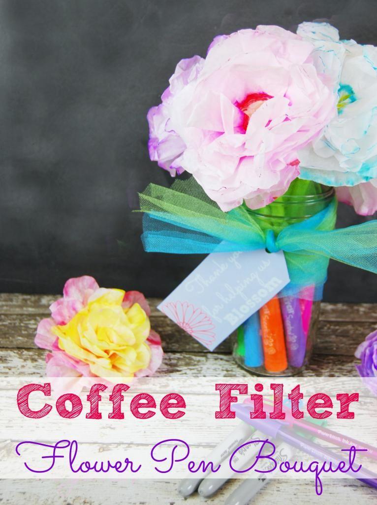 Teacher gift coffee filter flower pens flower pens coffee filter how about a bouquet of coffee filter flower pens mightylinksfo