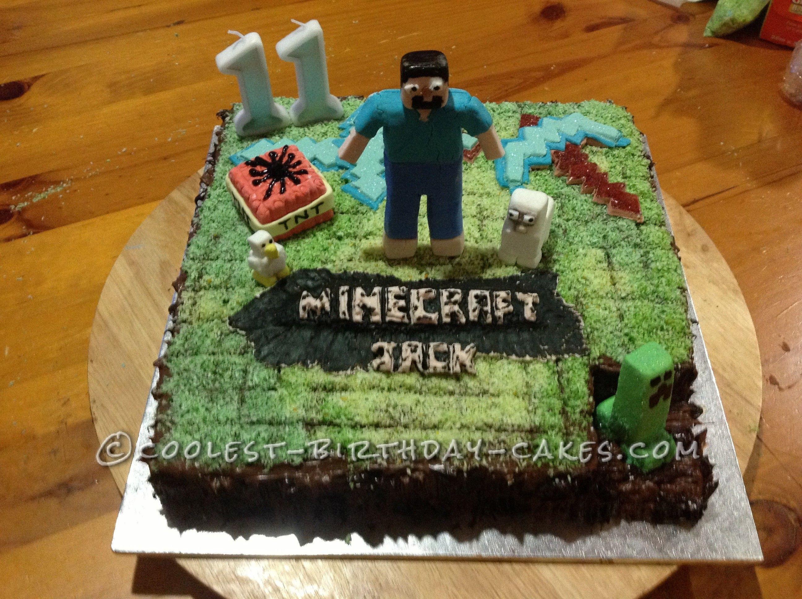 Coolest Minecraft Birthday Cake Minecraft birthday cake Birthday