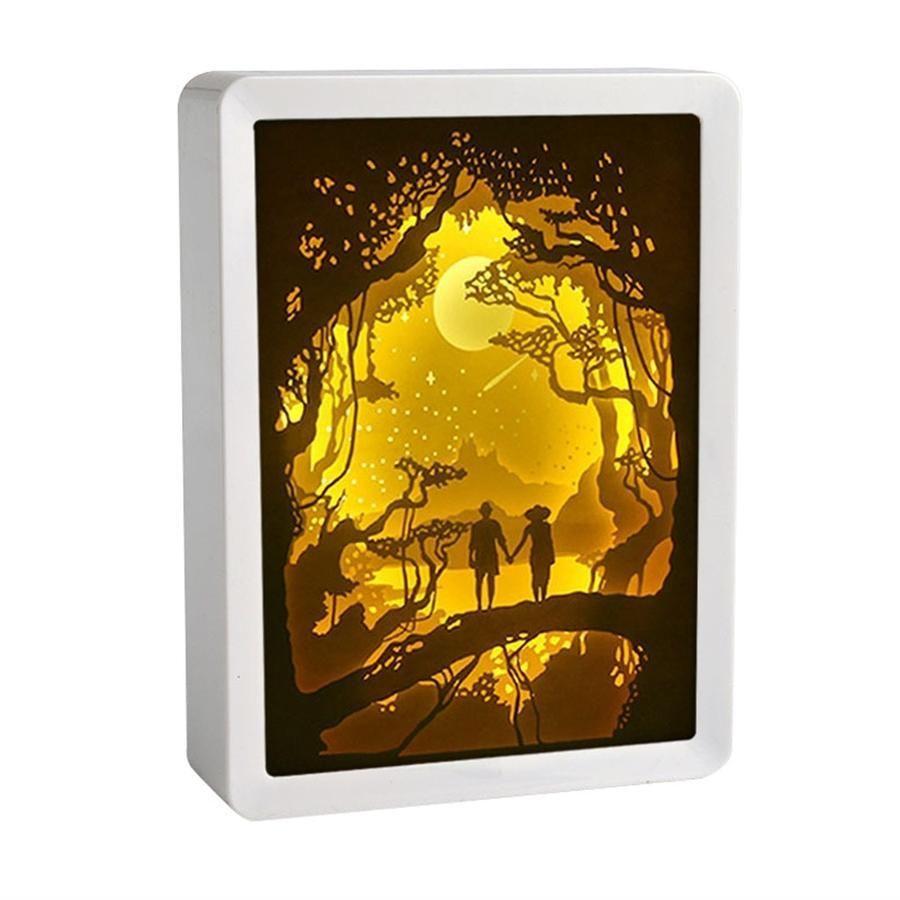 3d Paper Carving Night Lights Castle Living Room Lamp Shades Light Art Light Table