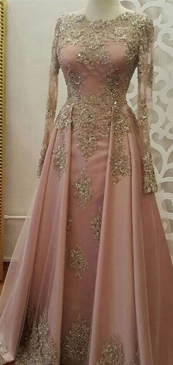 d2c625e8cac81 Long Sleeves Gold Lace Beaded Pink Skirt Long Evening Prom Dresses ...