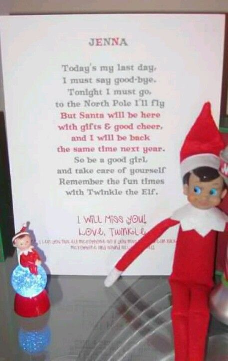Cute Elf on the Shelf farewell letter Elf on the Shelf