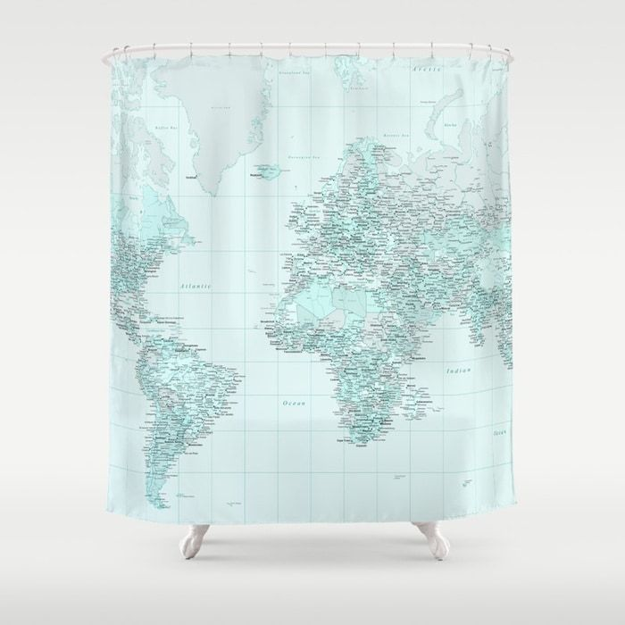 Buy World Map Landscape Shower Curtain By Judithhoy Worldwide Shipping Available At Society6 Curtains Bathroomideas Traveller Summer