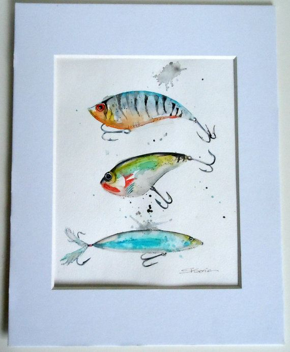 Fishing Lures Limezinniasdesign Fishing Lures Art Watercolor Fish