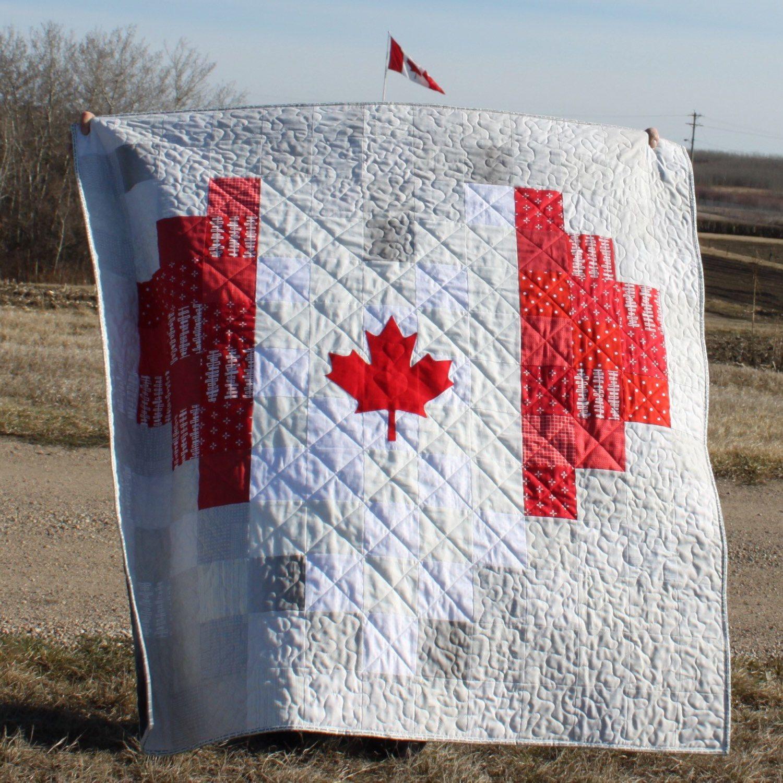 Custom homemade quilt canadian flag quilt heart quilt