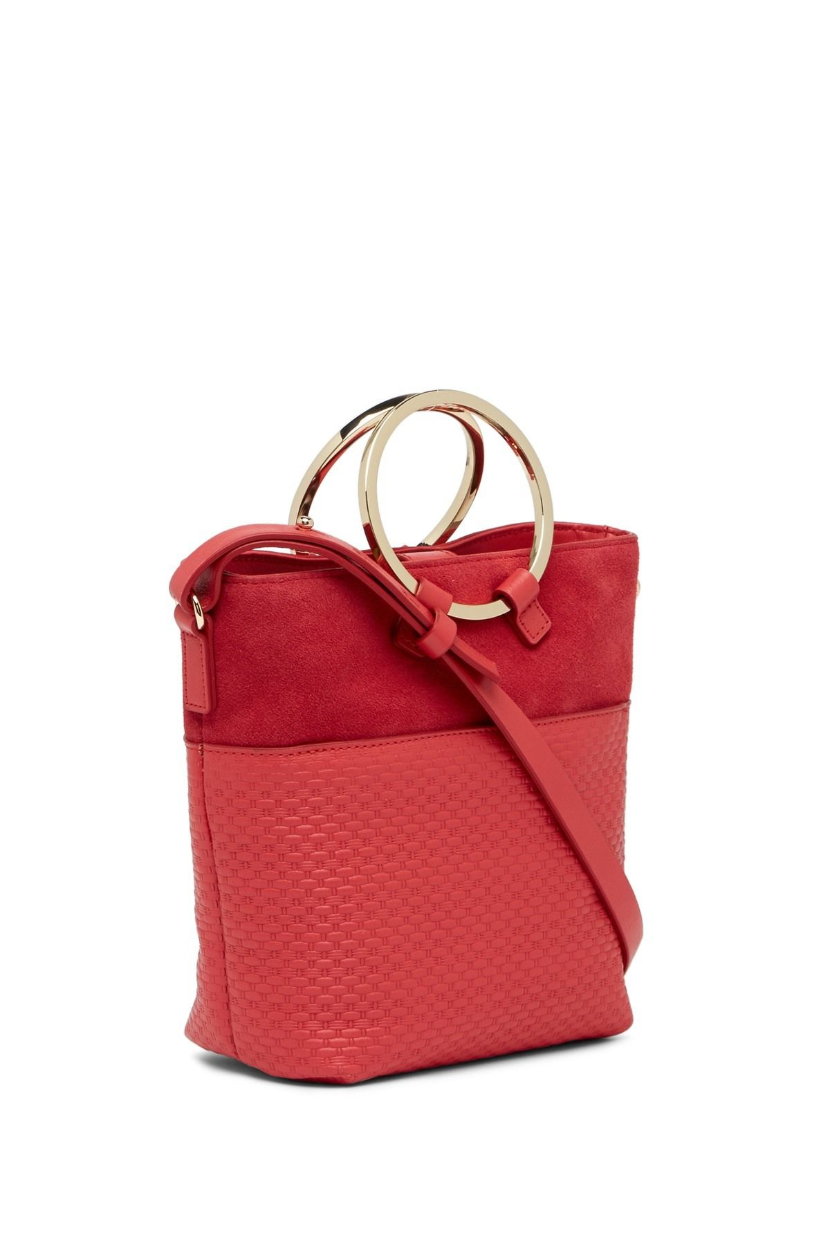 Halston Heritage - Small Embossed Leather Crossbody Bucket Bag is now 58%  off. Free Shipping on orders over  100. db0afae563250