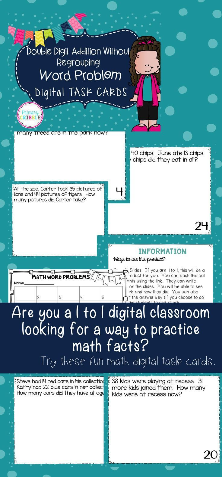 Double Digit Addition Without Regrouping Word Problem DIGITAL Task ...