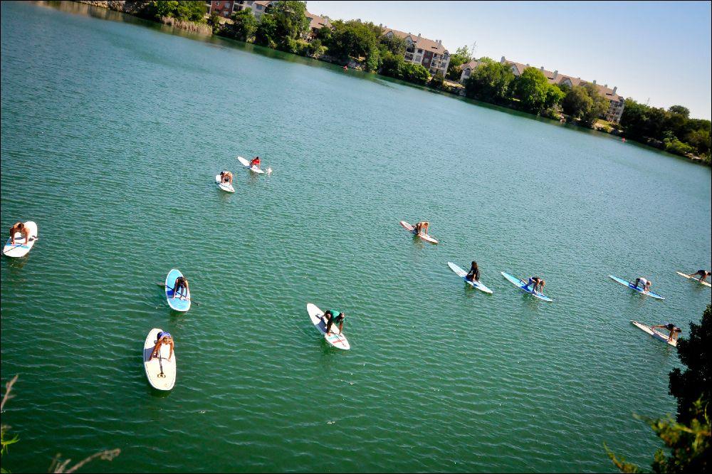 Yoga on paddleboards at quarry lake oh yeah yoga on