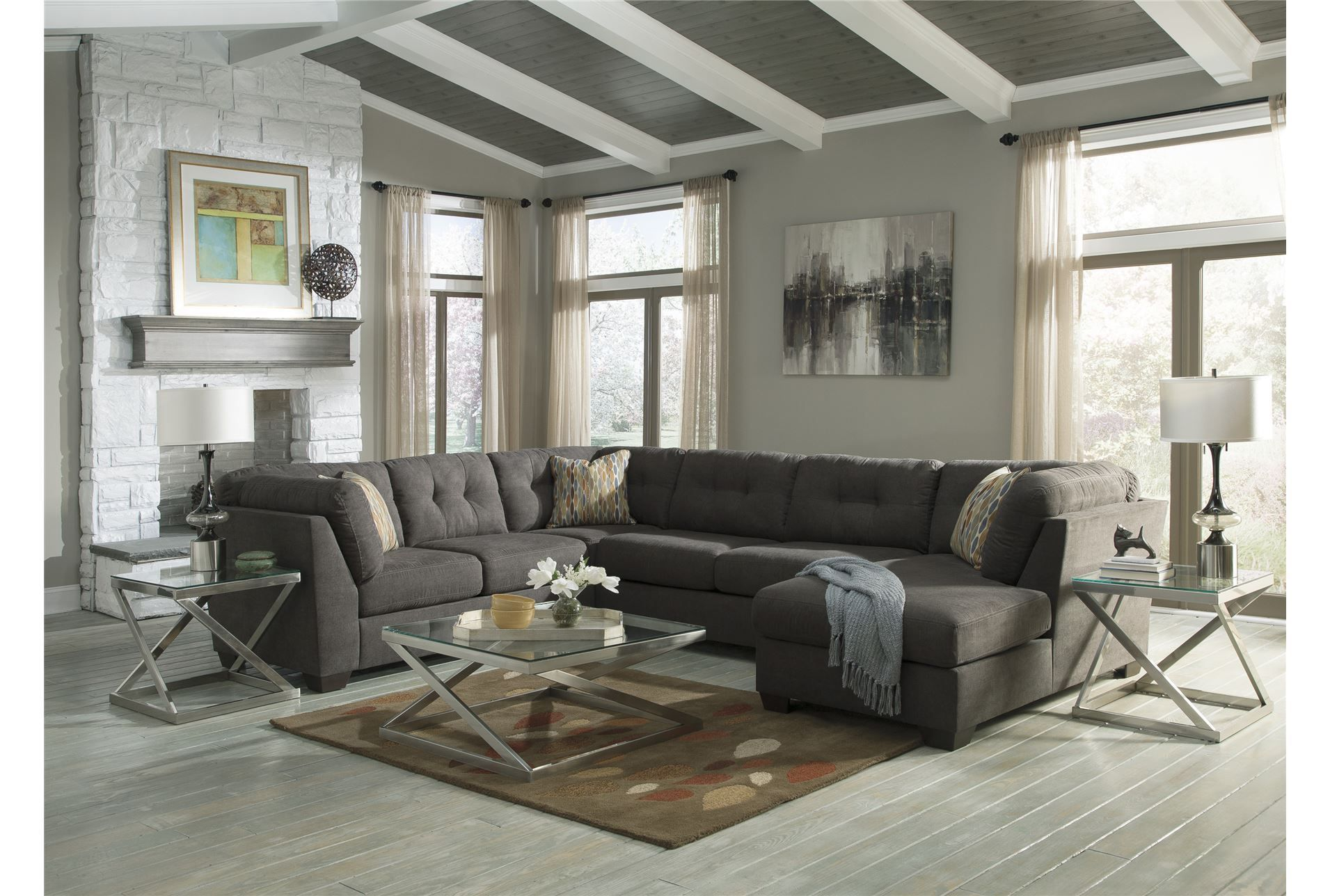 Delta City Steel 3 Piece Sectional W Raf Chaise