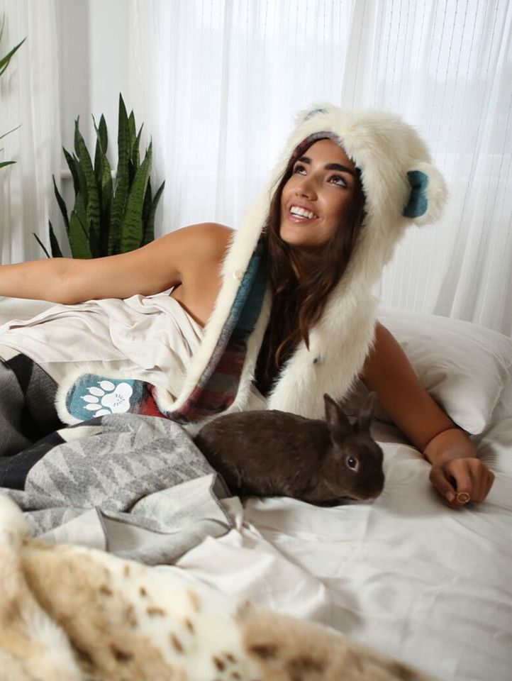 Polar Bear Italy faux fur animal inspired hood. Unisex (one size fits most).